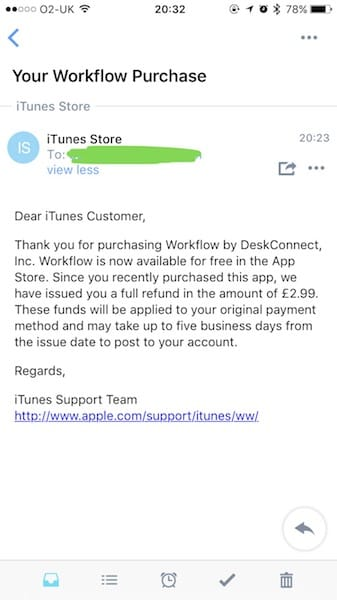 Workflow App Refund from Apple