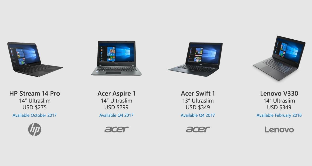 Microsoft Announces Four Affordable Windows 10 S Laptops