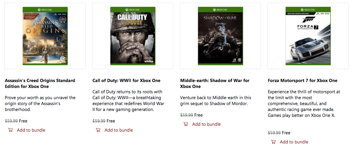 Xbox One S Free Games
