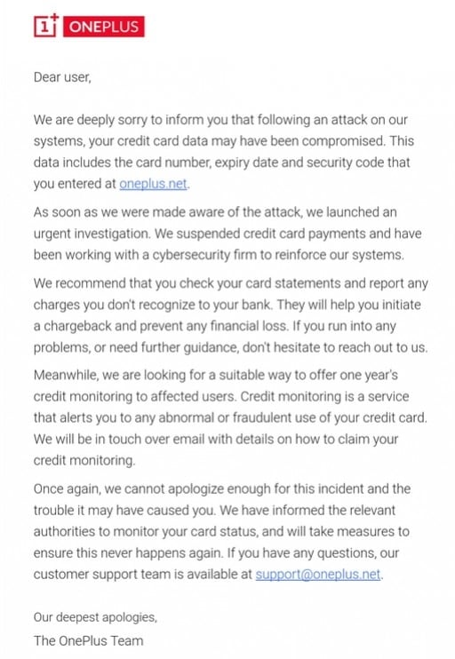 OnePlus Data Breach Email